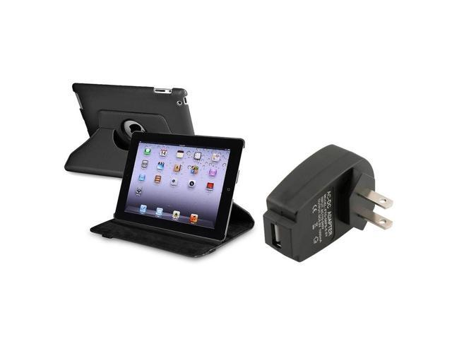 Black 360-degree Swivel Leather Case with 1 Travel/Wall Charger compatible with Apple iPad 2 / iPad 3rd Gen / The new iPad /ipad 4 / ipad with Retina display