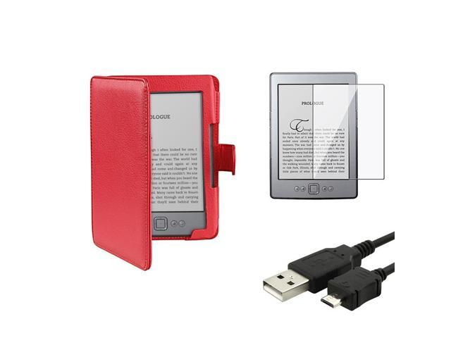 """eForCity Red Leather Case Cover Folio + Screen Protector + USB Cable For Amazon Kindle 4 5 th 6"""" E-reader"""