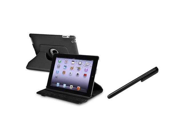 Black 360-degree Swivel Leather Case with Black Stylus compatible with Apple® ipad® 2 / ipad® 3rd Gen / The new ipad®/ipad® 4 / ipad® with Retina display