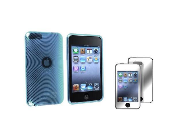 eForCity Clear Blue Concentric Circle TPU Rubber Skin Case with Free Mirror Screen Protector Compatible with Apple® iPod touch 2nd / 3rd Generation