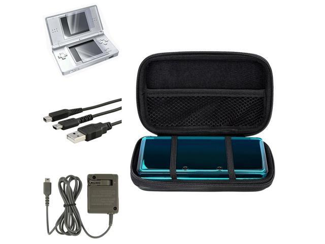 eForCity Black EVA Case Cover + USB Cable + Grey Travel Charger + 2-LCD Protector Compatible With Nintendo DS Lite