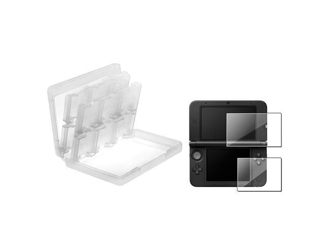 eForCity 2-LCD Kit Reusable Screen Protector + White 24-in-1 Game Card Case Bundle Compatible With Nintendo 3DS XL/LL