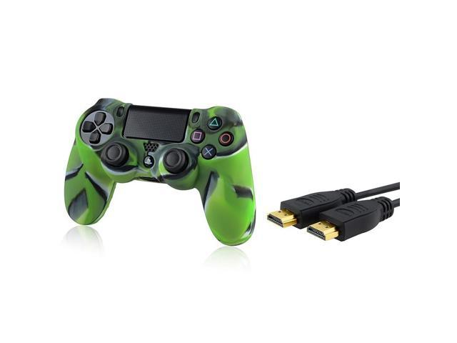 eForCity Camouflage Navy Green Silicone Skin Case with FREE 10FT High Speed HDMI Cable with Ethernet M / M Compatible with Sony PlayStation 4 (PS4) Controller