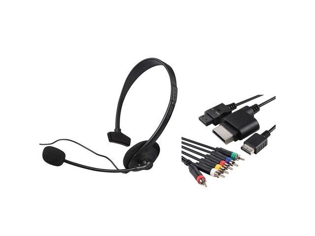 eForCity Headset + Black 4-in-1 Audio Video Cable Bundle Compatible With Microsoft Xbox 360, Xbox 360 Slim