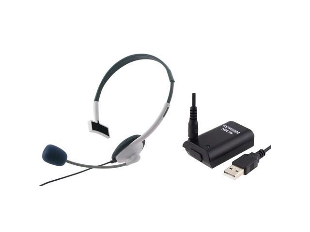 eForCity Headset + Black Replacement Battery with USB Cable Bundle Compatible With Microsoft Xbox 360, Xbox 360 Slim