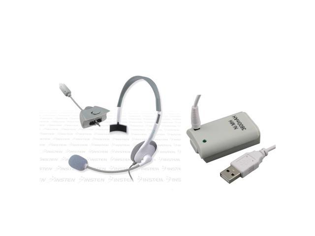 eForCity Headset with Microphone + Battery W/USB Cable For Xbox Controller