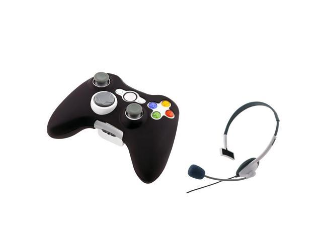 Black soft Silicone case for Microsoft xBox 360 controller Free With White Headset