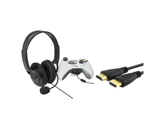 eForCity Black Headset with Microphone + Black High Speed HDMI Cable M/M Bundle Compatible With Microsoft Xbox 360, Xbox ...