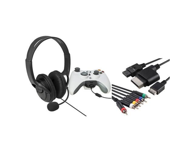 eForCity Black Headset with Microphone+Black 4-in-1 Audio Video Cable Compatible With Microsoft Xbox 360, Xbox 360 Slim