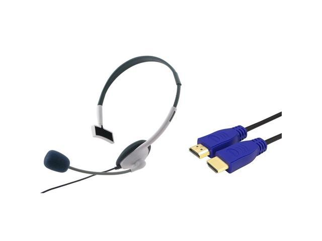 eForCity Stereo Headphone + 3 Ft 1.4 Ethernet Blue HDMI cable compatible with XBOX 360 Slim HDTV HD New