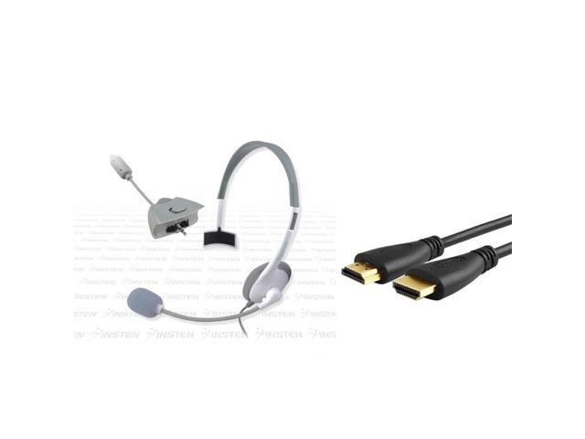 eForCity 3Ft 1.3 HDMI Cable M/M + eForCity  Game Live White Headphone w/Mic Compatible With Xbox 360