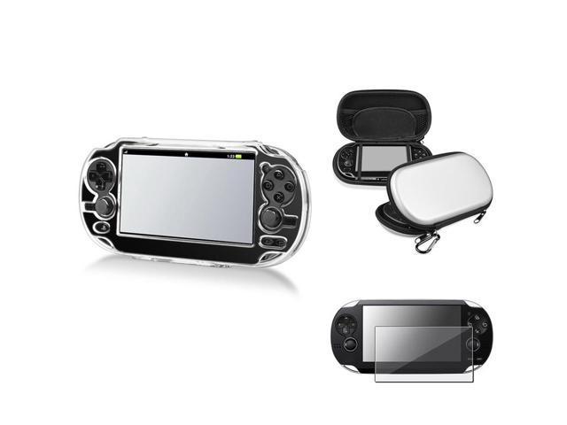 eForCity Snap-On Crystal Case+Silver EVA Case Pouch+LCD Guard For Sony PS Vita PSV