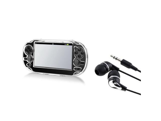 Crystal Clear Transparent Hard Case with Black 3.5mm universal In-ear Headset earphone for Sony Playstation PS vita
