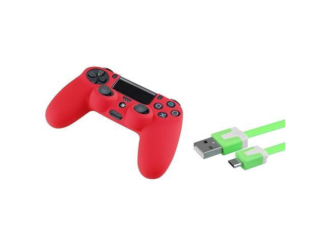 eForCity Green 3FT Micro USB Noodle Charger Cable + Red Case Cover Compatible With Sony PS4 controller