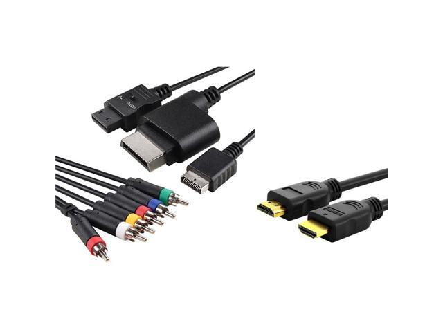 eForCity Black 4-in-1 Audio Video Cable + Black High Speed HDMI Cable M/M Bundle For XBOX 360 SLIM PS2 PS3