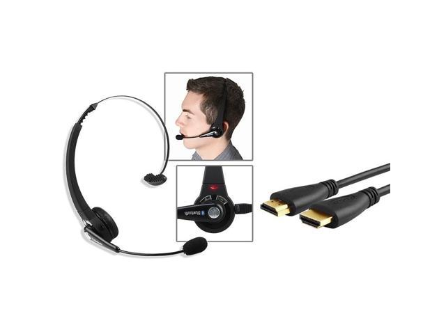 eForCity Wireless Bluetooth Headset + Black High Speed HDMI Cable M/M Version 2 For Sony Playstation 3 PS3