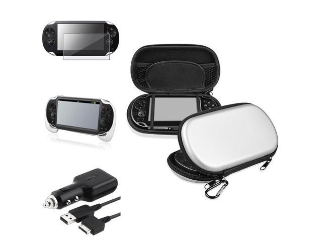 eForCity White Hand Grip + Protector + Silver EVA Case Cover + Car Charger w / USB Compatible With Sony PS Vita PSV