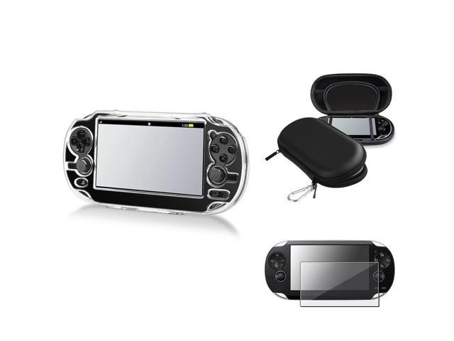 eForCity Reusable Screen Protector + Black Eva Case + Clear Snap-on Crystal Case Bundle Compatible With Sony Playstation Vita