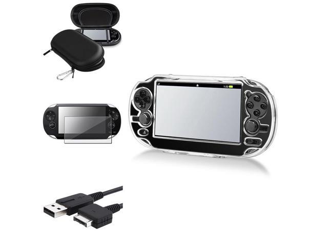 eForCity Black Eva Case + Reusable Screen Protector + Black USB Cable Bundle Compatible With Sony Playstation Vita