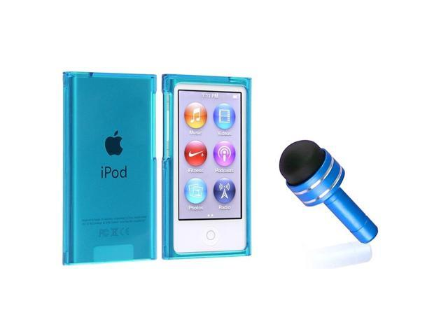 eForCity Clear Blue Slim Snap-on Case Cover + Light Blue 3.5mm Headset Dust Cap with Mini Stylus compatible with Apple® iPod nano 7th Generation