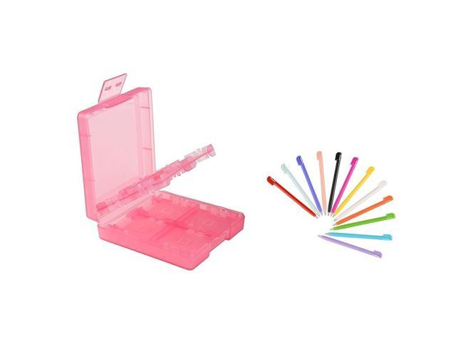 eForCity 12-pack Nintendo DS Lite Plastic Stylus + Light Coral 16-in-1 Game Card Case Compatible With Nintendo DS Lite