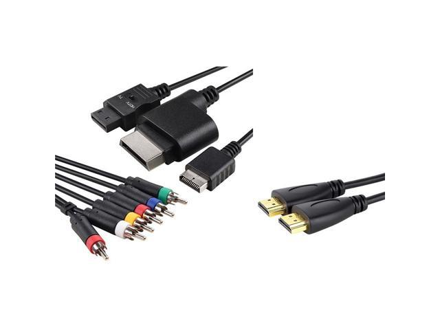 eForCity HDMI CABLE 10ft 3m+4IN1 AV COMPONENT HDTV CORD FOR Nintendo Wii Sony PS3 PS2