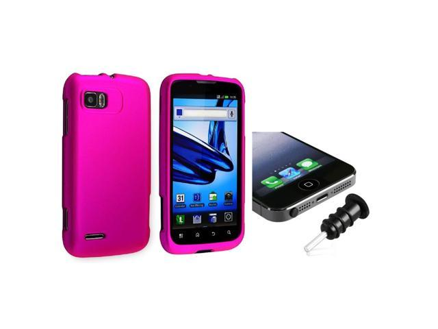 eForCity Hot Pink Snap-in Rubber Coated Case with FREE Black Headset Dust Cap Compatible with Motorola Atrix 2 MB865