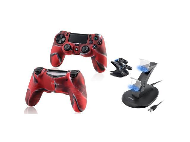 eForCity 2-Pack Camouflage Navy Red Silicone Skin Case with FREE 1 Dual USB Stand Charger Charging Station Compatible with Sony PlayStation 4 (PS4 ) Controller
