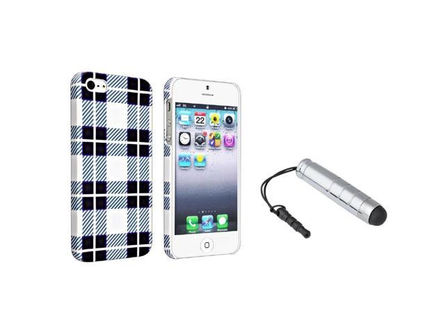 eForCity Checker Style 2 Snap-on Rubber Coated Case + Silver Universal Mini Stylus Bundle for Apple iPhone 5 / 5S