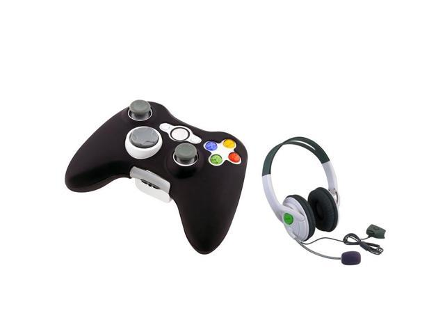 eForCity Headset w/Mic + Black Silicone Skin Case Bundle Compatible With Microsoft Xbox 360, Xbox 360 Slim
