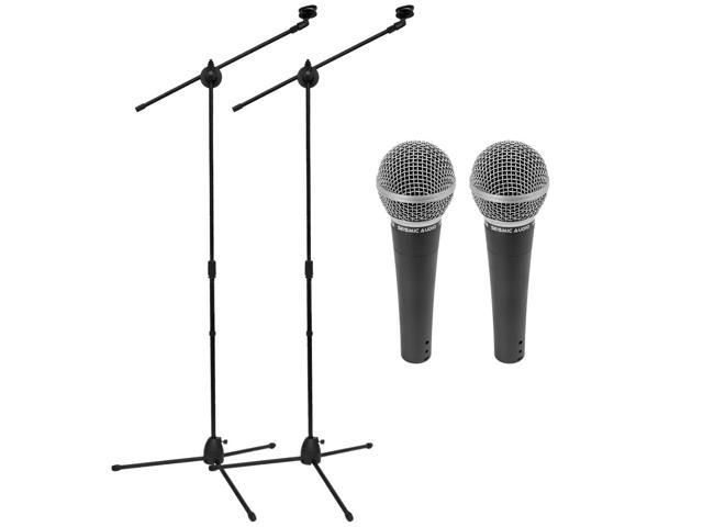 Seismic Audio Two (2) DYNAMIC MICROPHONES Vocals with 2 Mic Stands & Mic Clips