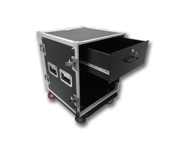Seismic Audio - 12 Space Rack Flight Case with 4 Space Rack Drawer