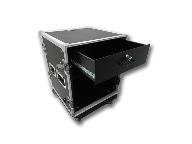 Seismic Audio - 12 Space Rack Flight Case with 3 Space Rack Drawer
