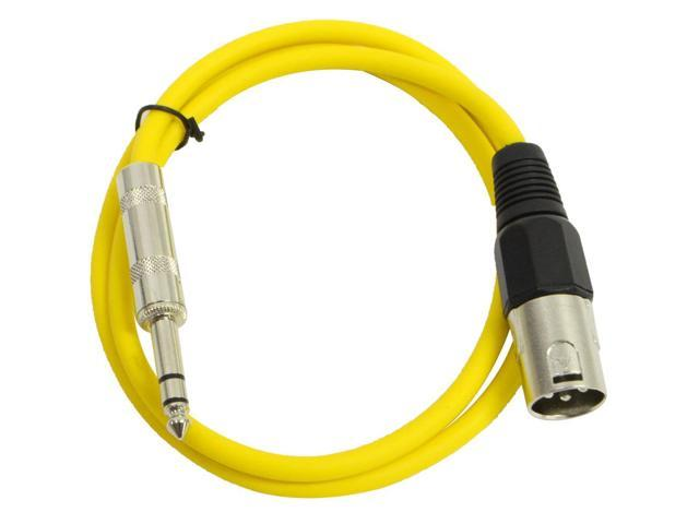 Seismic Audio - Yellow 2 foot XLR Male to TRS Male Patch Cable - Snake Microphone Cord