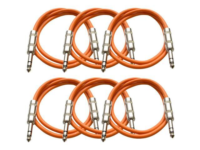 Seismic Audio - 6 Pack of Orange 3 foot TRS to TRS Patch Cables - Snake Microphone Cord