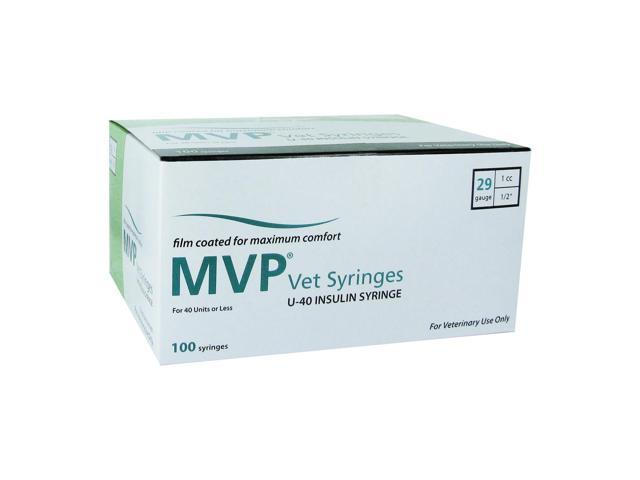 MVP Vet u-40 Insulin Syringes 29 Gauge 1cc 1/2 in - 100 ea