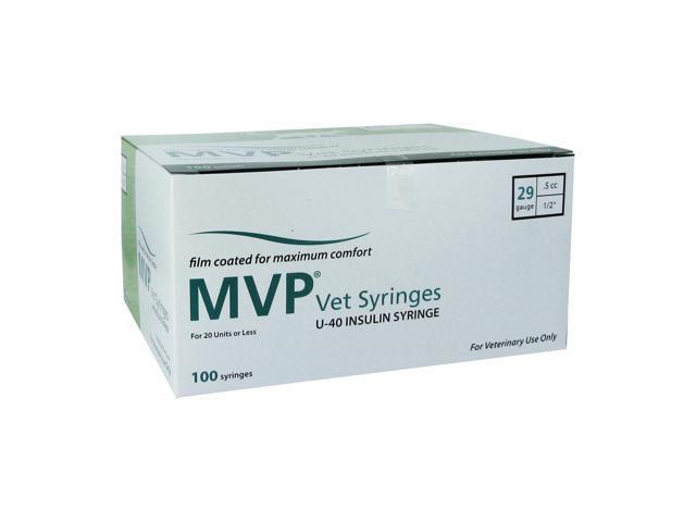 MVP Vet u-40 Insulin Syringes 29 Gauge .5cc 1/2 in - 100 ea