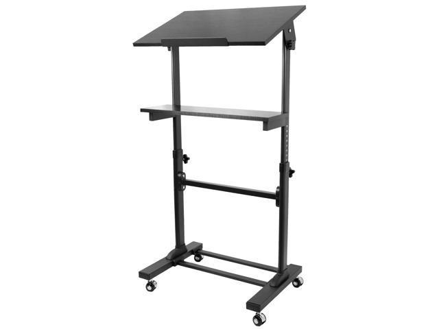 vivo height adjustable mobile podium lectern and ergonomic standing desk station cart