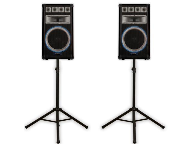 Technical Pro VRTX15 Passive Speakers and Stands 2400 Watts PA DJ Karaoke Band VRTX15SET1