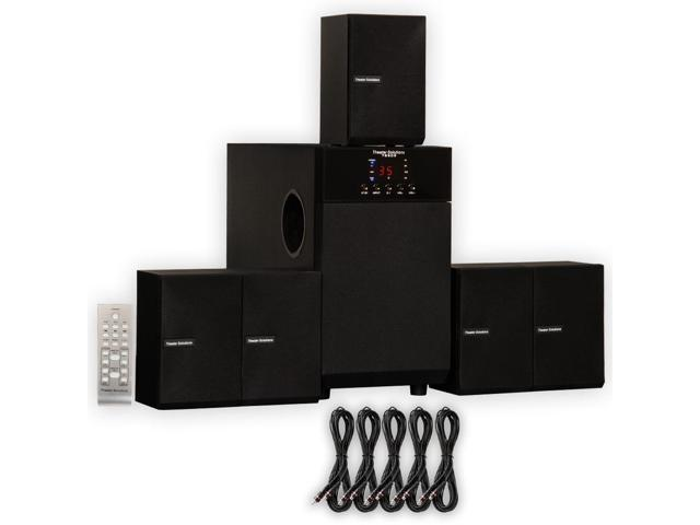 Theater Solutions TS509 Home Theater 5.1 Speaker Surround System with Five 25' Extension Cables