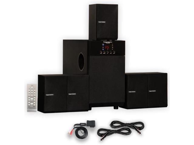 Theater Solutions TS509 Home Theater 5.1 Speaker Surround System with Bluetooth and 2 Extension Cables