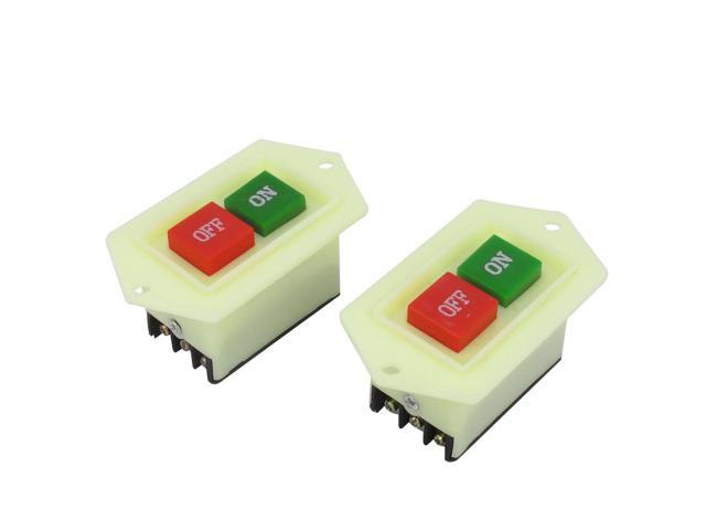 2pcs AC 380V 5A 3PST On/Off Start Stop Push Button Switch for Table Drill