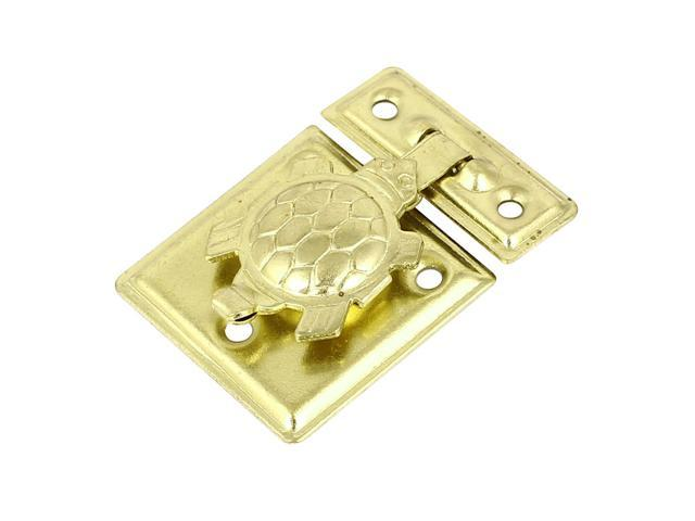 Snap Closure Wooden Case Chest Box Clasp Hasp Latch 36x26mm Gold Tone