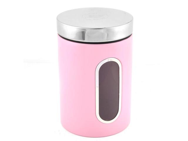 Cylinder Shaped Stainless Steel Airtight 2 Liter Food Storage Box Canister Pink