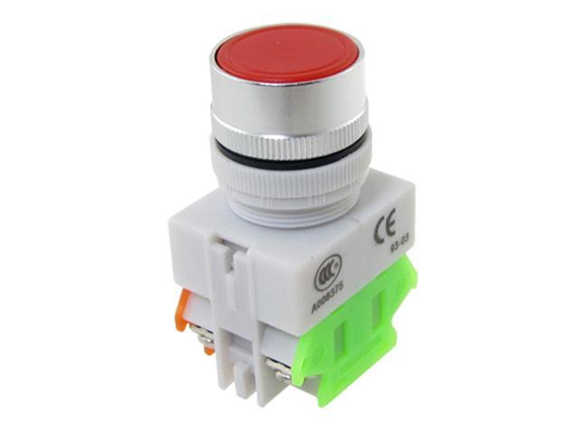 Unique Bargains Red Signal Ignition Momentary Push Button Switch 22mm 1 N/O 1 N/C 10A 600V AC