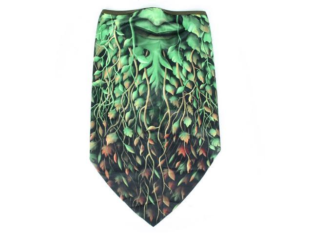 Green Plant Pattern Multifunction Breathable Bandana Scarf Headband Neckerchief