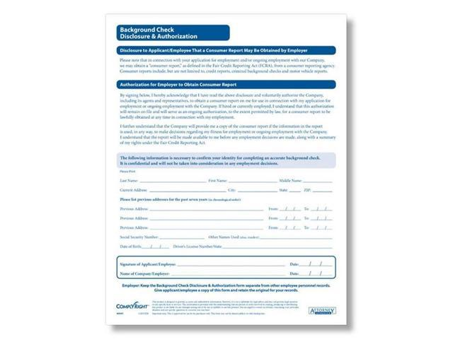 Complyright Background Check Authorization Form, Two Part
