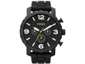 Fossil Nate Chronograph Black Dial Black Silicone Mens Watch JR1425