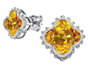 Star K Clover Earrings Studs with 8mm Clover Cut Simulated Citrine in Sterling Silver
