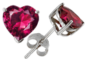 Original Star K 3.00 cttw 7mm Heart Shaped Created Ruby Stud Earrings with Gift Bag and Card
